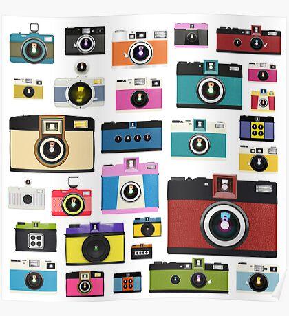 vintage camera pattern Poster
