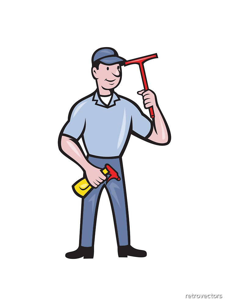 Window Cleaner With Squeegee by retrovectors
