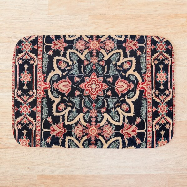Persian Carpet - Persian Vintage Antique Carpet Nature Fine Art Bath Mat