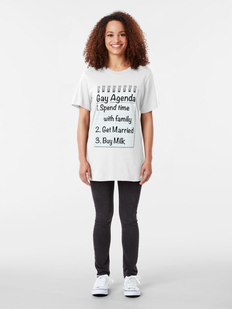Alternate view of Gay Agenda Slim Fit T-Shirt