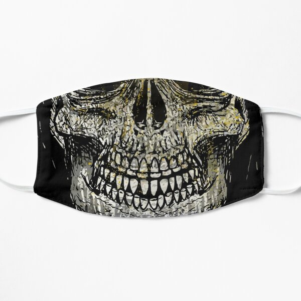 Glittered Gold Skull Head Flat Mask