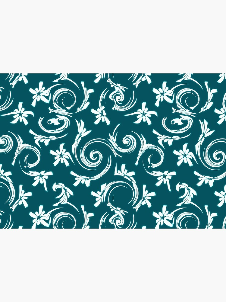 Stars Swirls and Spirals Teal White Pattern by RootSquare