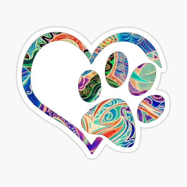 Pawprint Tie Dye Rainbow Inspired Dog Paw print gift Sticker
