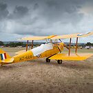 Vintage de Havilland Tiger Moth at Country Airstrip by palmerphoto