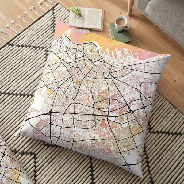 Casablanca Morocco Street Map Art Watercolor Color Floor Pillow
