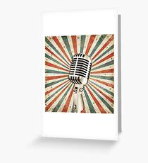 vintage microphone Greeting Card