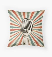vintage microphone Throw Pillow