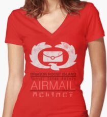Zelda Wind Waker - Dragon Roost Island Airmail Women's Fitted V-Neck T-Shirt