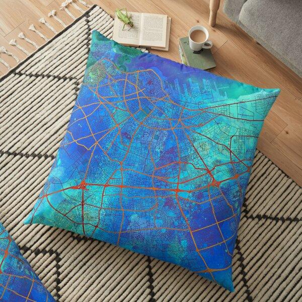 Casablanca Morocco Street Map Art Watercolor Blue Lounge Floor Pillow