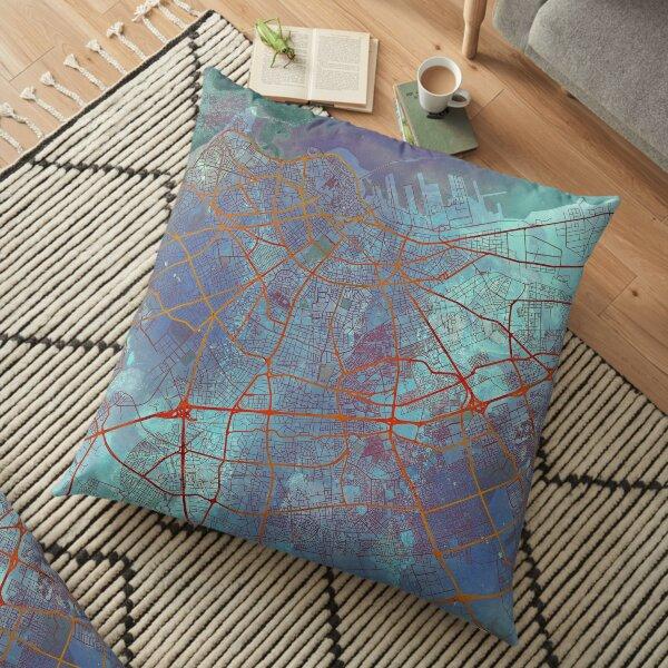 Casablanca Morocco Street Map Art Watercolor Apocalyptic Floor Pillow