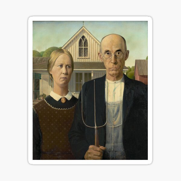 American Gothic - Grant Wood - Painting Sticker