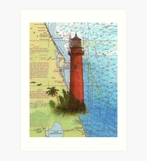 Jupiter Inlet Lighthouse FL Chart Map Cathy Peek Art Print