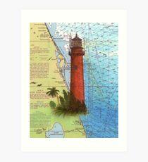 Jupiter Inlet Lighthouse FL Chart Map Cathy Peek Art Print