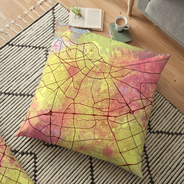 Casablanca Morocco Street Map Art Watercolor Yellow Pink Floor Pillow