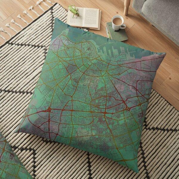 Casablanca Morocco Street Map Art Watercolor Green Planet Floor Pillow