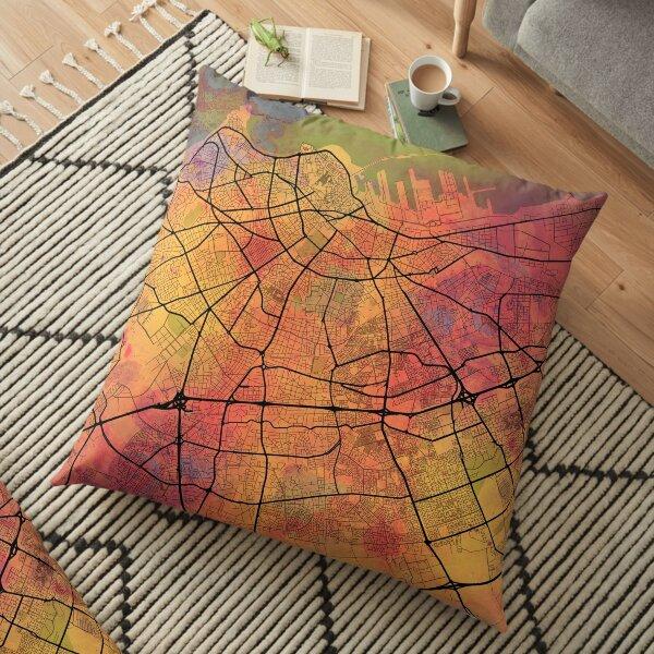 Casablanca Morocco Street Map Art Watercolor Lava Explosion Floor Pillow
