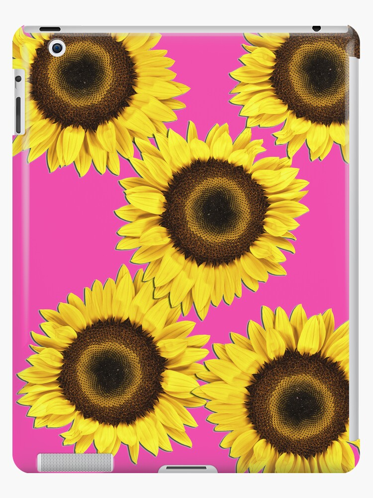 Ipad case - Sunflowers Shocking Pink by mpodger