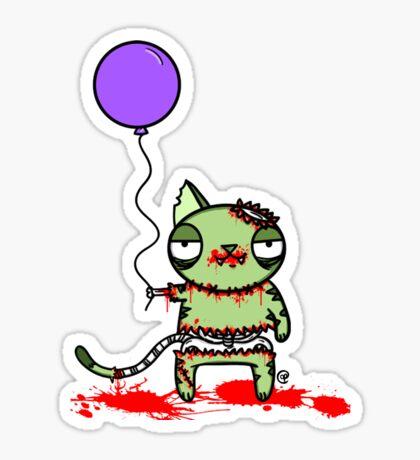 Birthday Zombie Cat with Balloon Sticker
