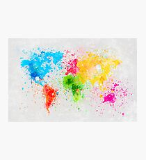 world map painting Photographic Print