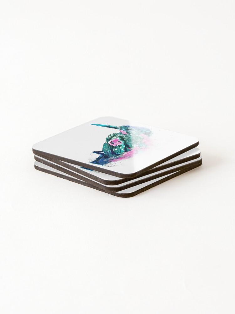 Alternative Ansicht von Eisvogel Aquarell Untersetzer (4er Set)