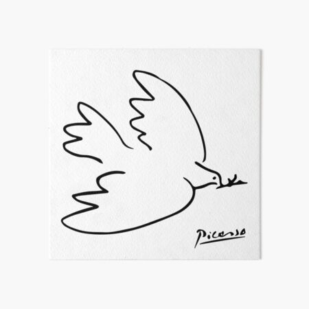 Pablo Picasso Dove Of Peace Line Drawing Sketch Artwork for Prints Tshirts Posters Bags Women Men Kids Art Board Print
