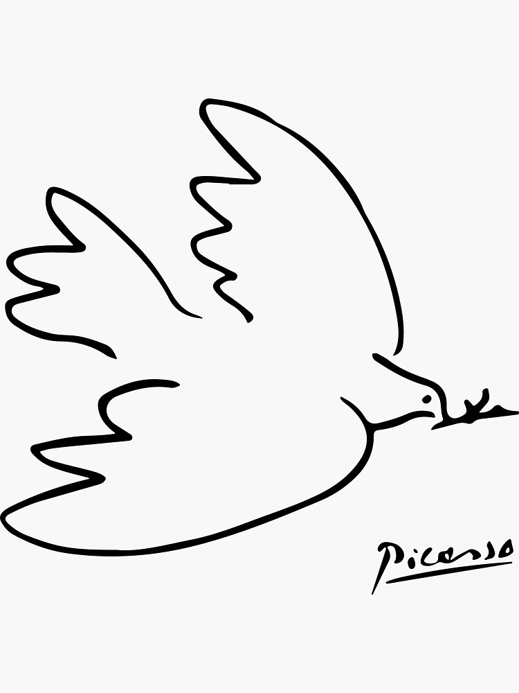 Pablo Picasso Dove Of Peace Line Drawing Sketch Artwork for Prints Tshirts Posters Bags Women Men Kids by clothorama