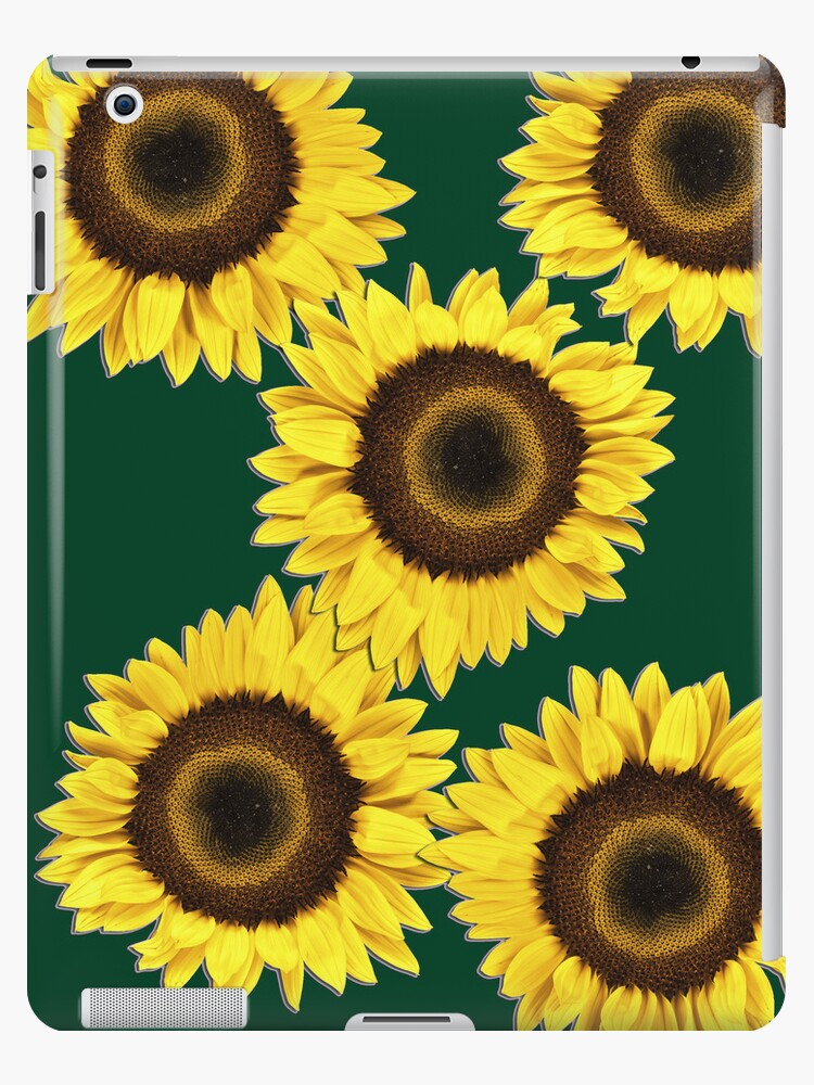 Ipad case - Sunflowers Dark Green by mpodger