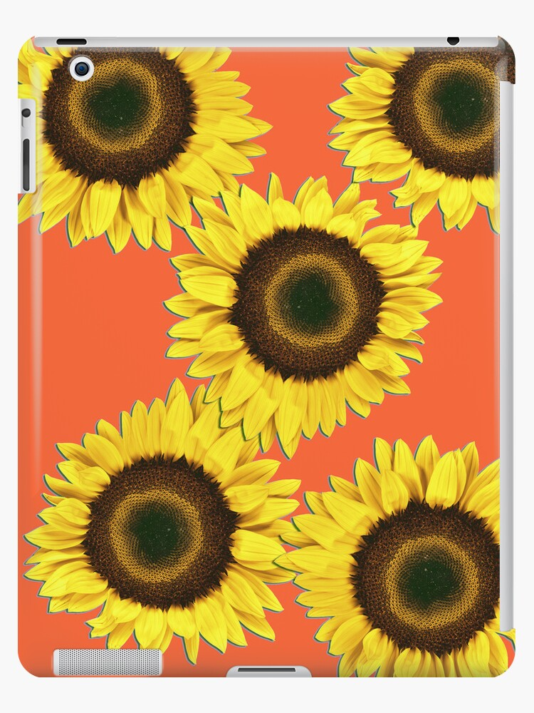 Ipad case - Sunflowers Sunset Orange by mpodger