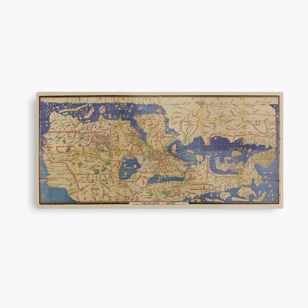 Edrisi world map 12 century Tabula Rogeriana Metal Print