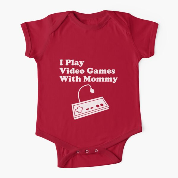 I Play Video Games With Mommy Short Sleeve Baby One-Piece