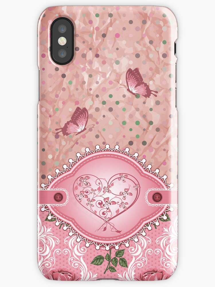 """""""Pink Girly Cute Polka Dots Roses Pattern iPhone 5 Case ..."""