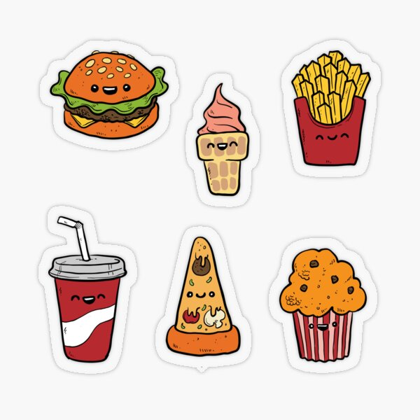 Fast Food Stickers for Journals / Planners / Scrapbooking Transparent Sticker