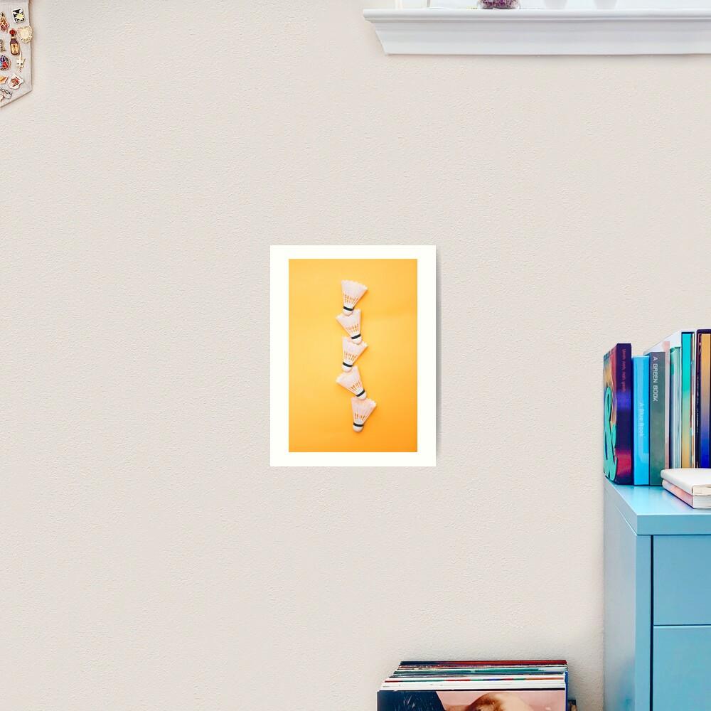 Shuttlecocks on yellow background Art Print