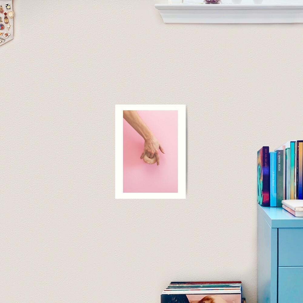 Hand holds donut Art Print