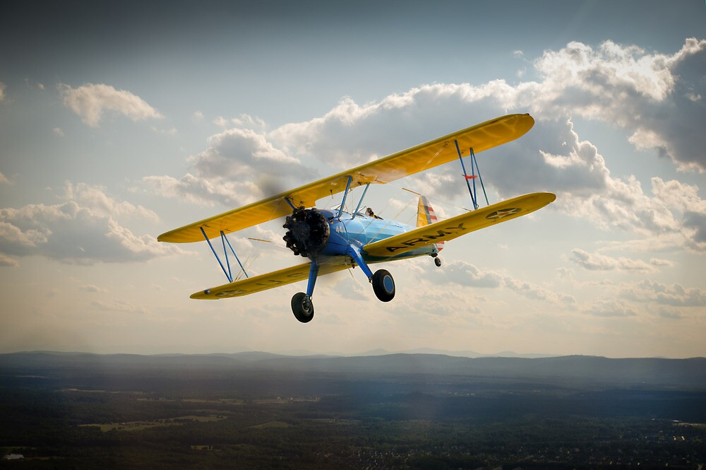 Boeing Stearman in flight by Gary Eason