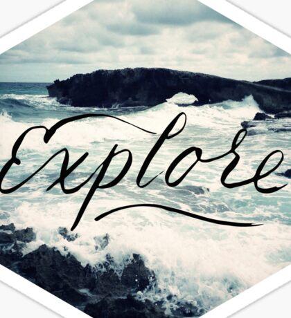 Explore Beach Wave Ocean Typography Photo Sticker