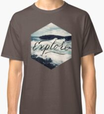 Explore Beach Wave Ocean Typography Photo Classic T-Shirt