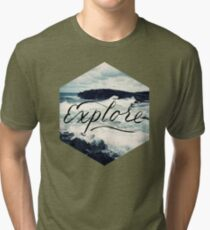 Explore Beach Wave Ocean Typography Photo Tri-blend T-Shirt