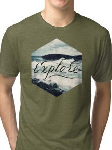 Explore Beach Wave Ocean Typography Photo Tri-blend T-Shirt