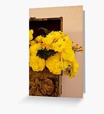 Yellow Begonias in Rose Box - Digital Oil Painting Greeting Card