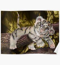 Tiger Pause, Tiger Cub by Alma Lee pop surrealism Poster