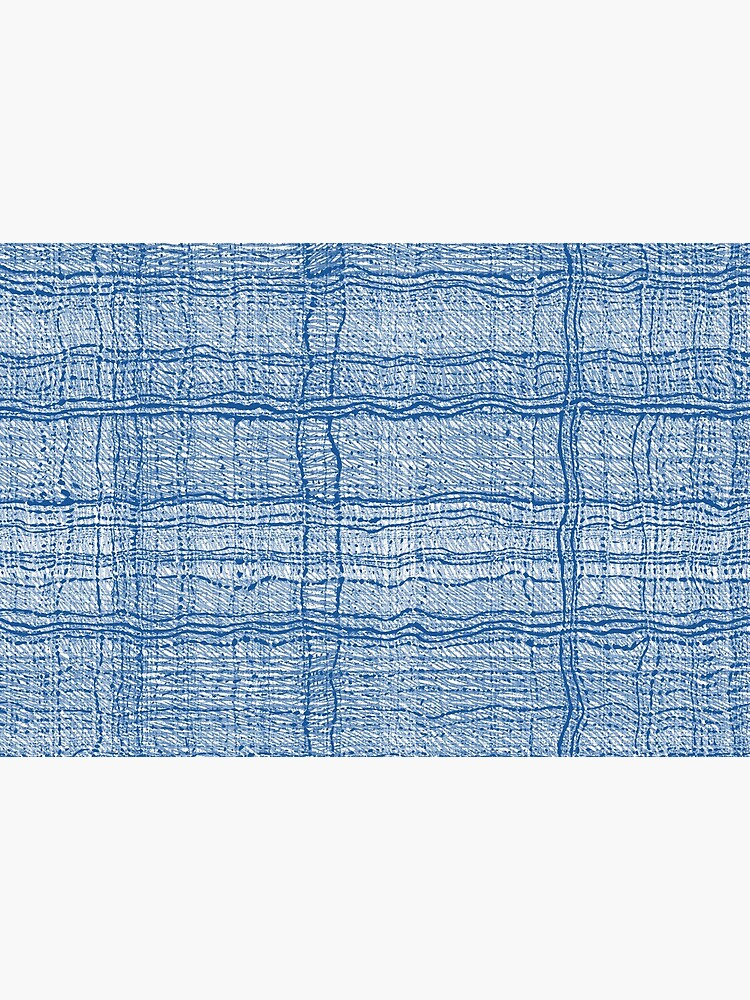 Blue Pen Ink Plaid Fabric Texture Pattern by RootSquare