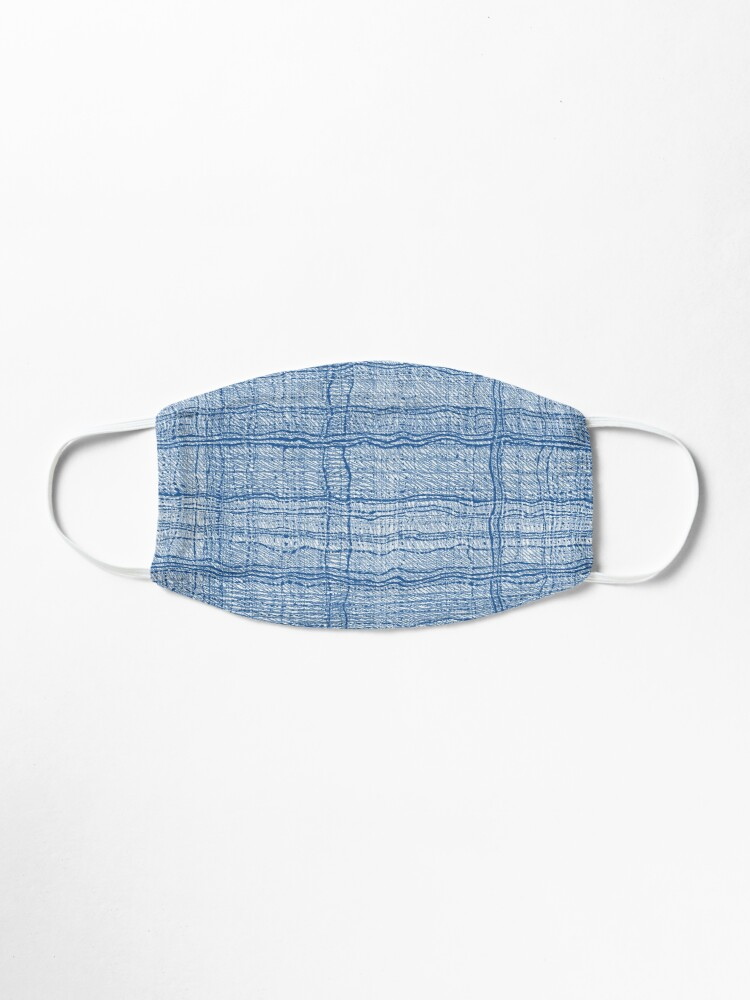 Alternate view of Blue Pen Ink Plaid Fabric Texture Pattern Mask