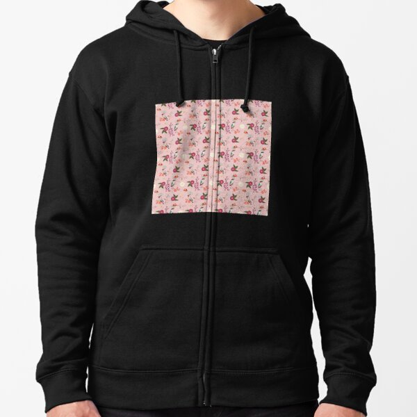 Eastern delight, Japanese garden, waxwing, fairy pitta, cherry blossom, camelia (pink) Zipped Hoodie