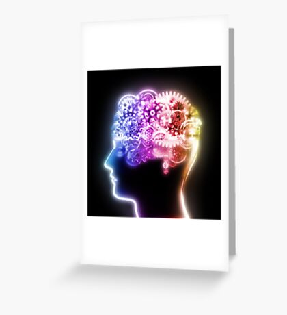 brain design by cogs and gears Greeting Card