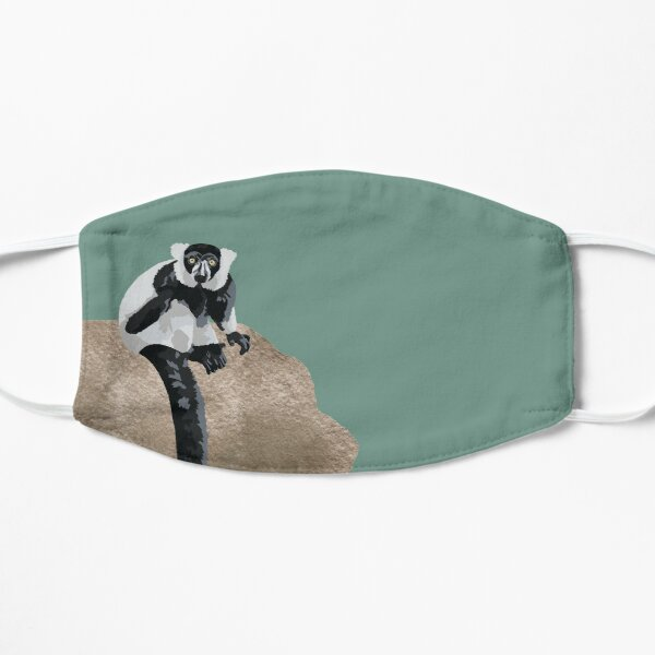 Black and White Lemur Portrait Mask