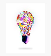 light bulb made by gear wheel Photographic Print
