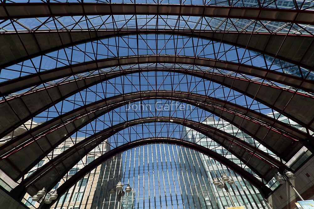 Wide-angle image of Canary Wharf DLR station roof by John Gaffen