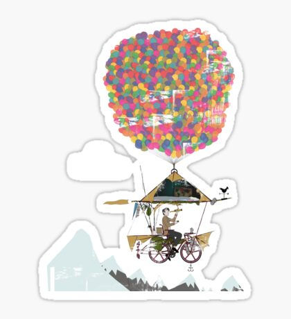 Riding A Bicycle Through The Mountains Sticker