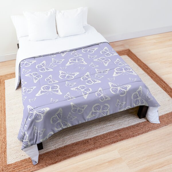 Pretty Violet Purple and White Butterflies Pattern Comforter